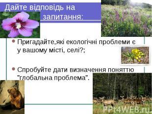 Пригадайте,які екологічні проблеми є у вашому місті, селі?; Спробуйте дати визна