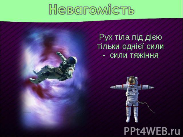Рух тіла під дією тільки однієї сили - сили тяжіння Рух тіла під дією тільки однієї сили - сили тяжіння