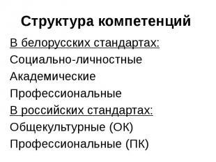 Структура компетенций В белорусских стандартах: Социально-личностные Академическ