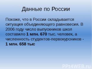 Данные по России Похоже, что в России складывается ситуация объединяющего равнов