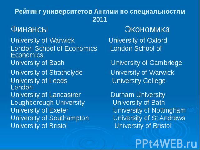 Рейтинг университетов Англии по специальностям 2011 Финансы Экономика University of Warwick University of Oxford London School of Economics London School of Economics University of Bash University of Cambridge University of Strathclyde University of…
