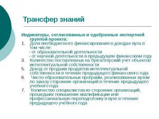Трансфер знаний Индикаторы, согласованные и одобренные экспертной группой проект
