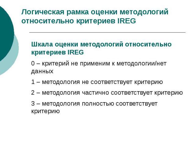 Логическая рамка оценки методологий относительно критериев IREG Шкала оценки методологий относительно критериев IREG 0 – критерий не применим к методологии/нет данных 1 – методология не соответствует критерию 2 – методология частично соответствует к…