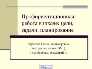 Профориентационная работа в школе: цели, задачи, планирование Харисова Елена Вла