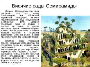 Висячие сады Семирамиды Дворец Навуходоносора был построен для его жены Семирами