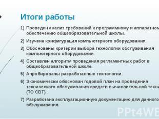Итоги работы Проведен анализ требований к программному и аппаратному обеспечению