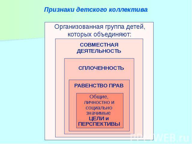 Признаки детского коллектива