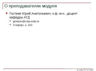 О преподавателях модуля Гостеев Юрий Анатольевич, к.ф.-м.н., доцент кафедры АГД