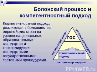 Болонский процесс и компетентностный подход Компетентностный подход реализован в