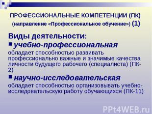 ПРОФЕССИОНАЛЬНЫЕ КОМПЕТЕНЦИИ (ПК) (направление «Профессиональное обучение») (1)