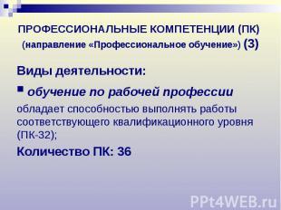 ПРОФЕССИОНАЛЬНЫЕ КОМПЕТЕНЦИИ (ПК) (направление «Профессиональное обучение») (3)