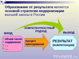 Образование от результата является основой стратегии модернизации высшей школы в