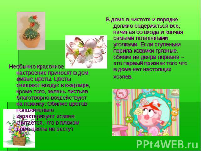 Необычно красочное настроение приносят в дом живые цветы. Цветы очищают воздух в квартире, кроме того, зелень листьев благотворно воздействуют на психику. Обилие цветов положительно характеризуют хозяев: считается, что в плохом доме цветы не растут …