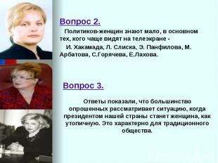 Вопрос 2. Вопрос 2. Политиков-женщин знают мало, в основном тех, кого чаще видят