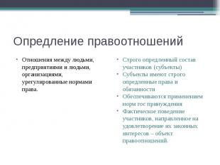 Опредление правоотношений Отношения между людьми, предприятиями и людьми, органи