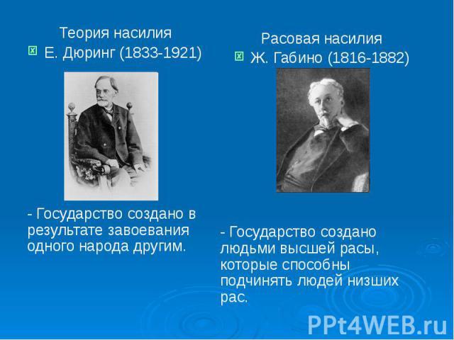 Теория насилия Теория насилия Е. Дюринг (1833-1921) - Государство создано в результате завоевания одного народа другим.