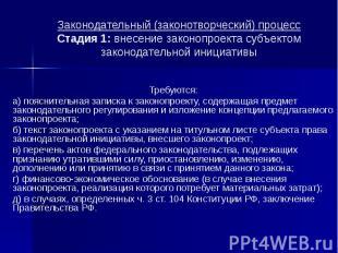 Законодательный (законотворческий) процесс Стадия 1: внесение законопроекта субъ