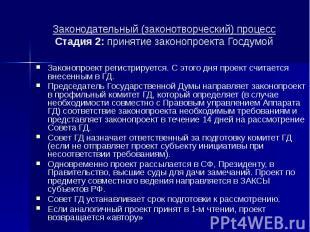 Законодательный (законотворческий) процесс Стадия 2: принятие законопроекта Госд