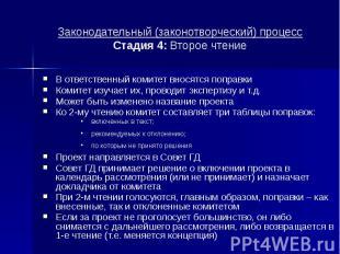 Законодательный (законотворческий) процесс Стадия 4: Второе чтение В ответственн