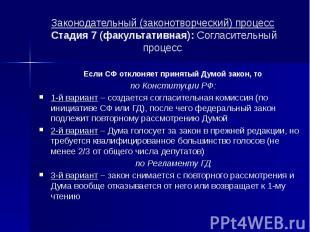 Законодательный (законотворческий) процесс Стадия 7 (факультативная): Согласител