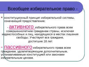 конституционный принцип избирательной системы, означающий предоставление: консти