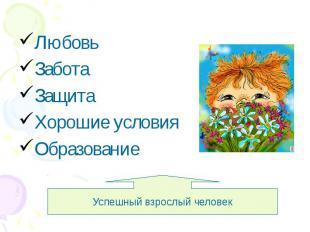Любовь Забота Защита Хорошие условия Образование