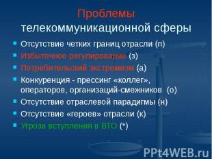 Проблемы телекоммуникационной сферы Отсутствие четких границ отрасли (п) Избыточ