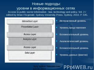 Новые подходы: уровни в информационных сетях Access to public sector information