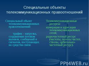 Специальные объекты телекоммуникационных правоотношений Специальный объект телек