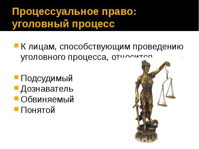 Процессуальное право: уголовный процесс К лицам, способствующим проведению уголовного процесса, относится Подсудимый Дознаватель Обвиняемый Понятой