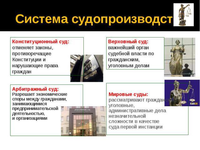 Система судопроизводства Арбитражный суд: Разрешает экономические споры между гражданами, занимающимися предпринимательской деятельностью, и организациями