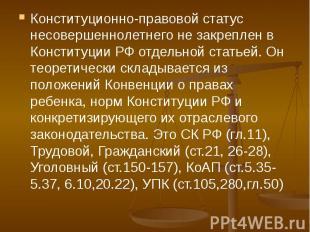 Конституционно-правовой статус несовершеннолетнего не закреплен в Конституции РФ