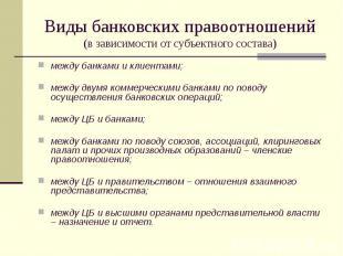 Виды банковских правоотношений (в зависимости от субъектного состава) между банк