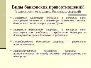 Виды банковских правоотношений (в зависимости от характера банковских операций)