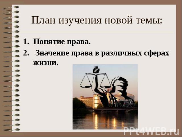 План изучения новой темы: Понятие права. Значение права в различных сферах жизни.