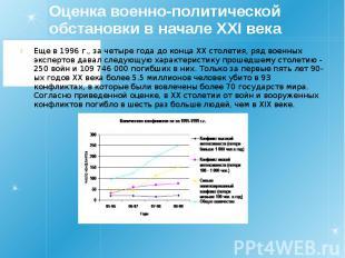 Оценка военно-политической обстановки в начале XXI века Еще в 1996 г., за четыре