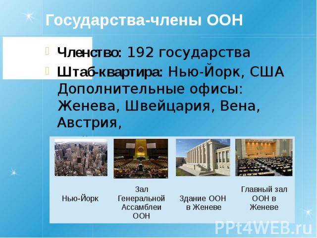 Государства-члены ООН Членство: 192 государства Штаб-квартира: Нью-Йорк, США Дополнительные офисы: Женева, Швейцария, Вена, Австрия, Найроби, Кения