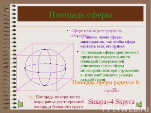 Площадь сферы Площадь сферы радиуса R: Sсф=4πR2