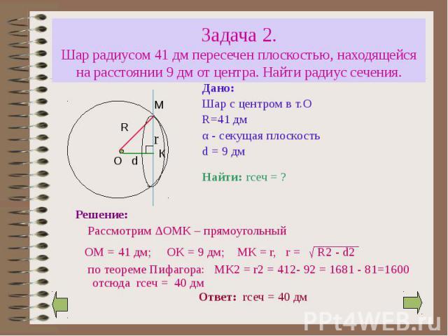 Задача 2. Шар радиусом 41 дм пересечен плоскостью, находящейся на расстоянии 9 дм от центра. Найти радиус сечения. Дано: Шар с центром в т.О R=41 дм α - секущая плоскость d = 9 дм