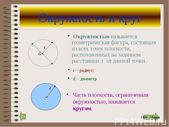 Окружность и круг Часть плоскости, ограниченная окружностью, называется кругом.