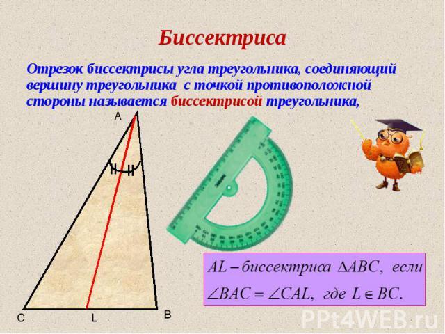 Биссектриса Отрезок биссектрисы угла треугольника, соединяющий вершину треугольника с точкой противоположной стороны называется биссектрисой треугольника, A