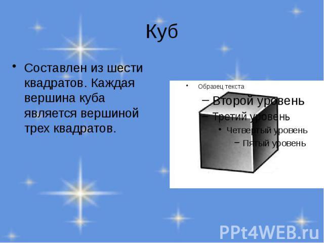 Куб Составлен из шести квадратов. Каждая вершина куба является вершиной трех квадратов.