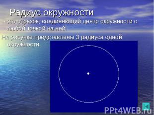 - это отрезок, соединяющий центр окружности с любой точкой на ней. - это отрезок