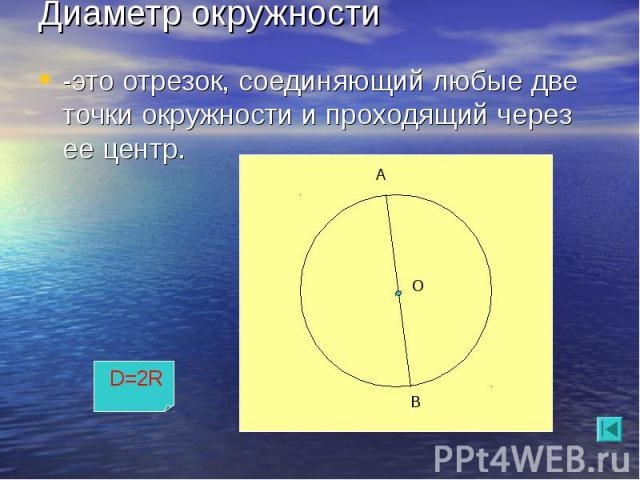 -это отрезок, соединяющий любые две точки окружности и проходящий через ее центр. -это отрезок, соединяющий любые две точки окружности и проходящий через ее центр.