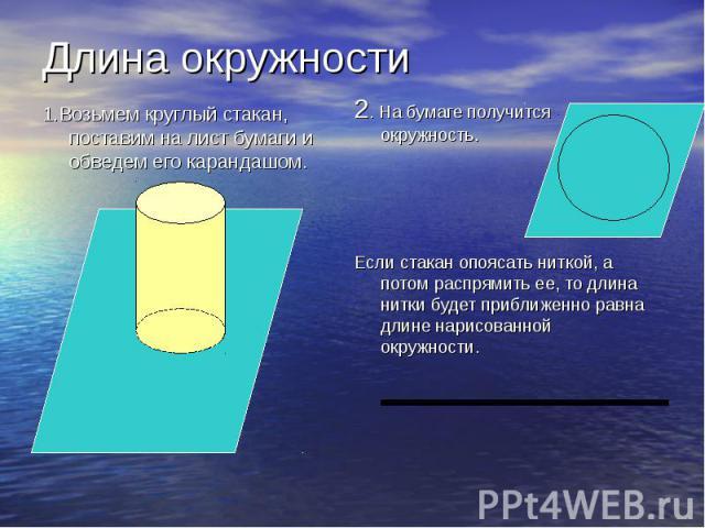 2. На бумаге получится окружность. 2. На бумаге получится окружность. Если стакан опоясать ниткой, а потом распрямить ее, то длина нитки будет приближенно равна длине нарисованной окружности.