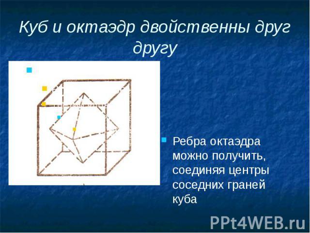 Куб и октаэдр двойственны друг другу Ребра октаэдра можно получить, соединяя центры соседних граней куба
