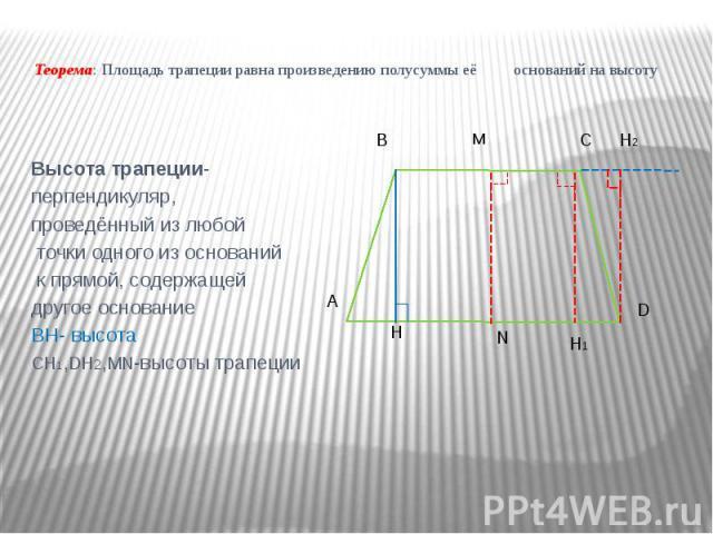 Теорема: Площадь трапеции равна произведению полусуммы её оснований на высоту Высота трапеции- перпендикуляр, проведённый из любой точки одного из оснований к прямой, содержащей другое основание BH- высота CH1,DH2,MN-высоты трапеции