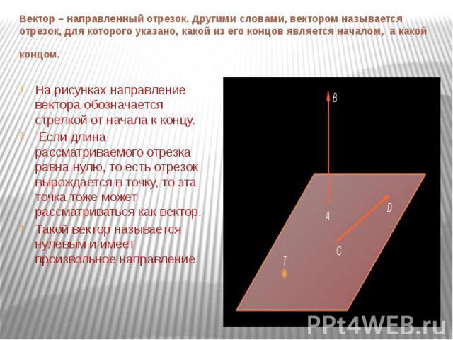 Вектор – направленный отрезок. Другими словами, вектором называется отрезок, для которого указано, какой из его концов является началом, а какой концом. На рисунках направление вектора обозначается стрелкой от начала к концу. Если длина рассматривае…