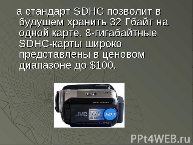 а стандарт SDHC позволит в будущем хранить 32 Гбайт на одной карте. 8-гигабайтные SDHC-карты широко представлены в ценовом диапазоне до $100. а стандарт SDHC позволит в будущем хранить 32 Гбайт на одной карте. 8-гигабайтные SDHC-карты широко предста…