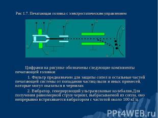 Цифрами на рисунке обозначены следующие компоненты печатающей головки: 1. Фильтр